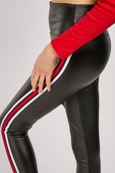 Striped Side Panel Leather Leggings