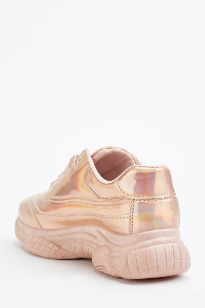 Metallic Lace Up Chunky Trainers