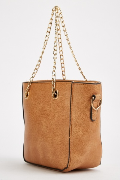 Textured Chain Handle Tote Bag