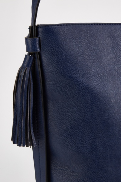 Textured Tassel Trim Tote Bag