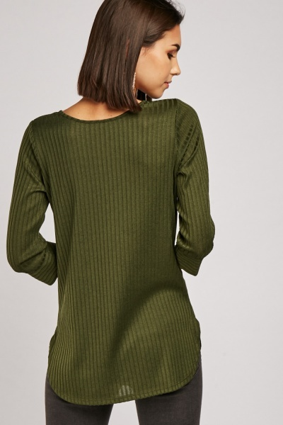 Ribbed Round Hem Top