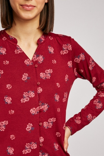 Flower Printed Casual Jersey Top