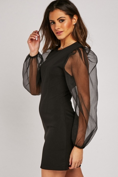 Bodycon Dress With Organza Sleeve