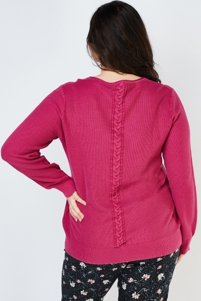 Cable Knit Back Panel Cardigan