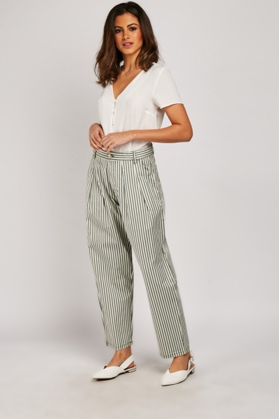 Vertical Striped Crop Trousers