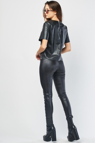 Criss Cross Lace Up Faux Leather Leggings