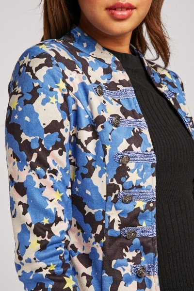 Contrasted Camouflage Print Blazer