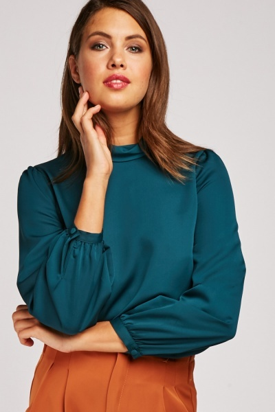Funnel Neck Chiffon Blouse