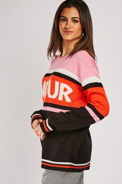 Graphic Front Striped Knit Jumper