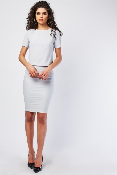Textured Short Sleeve Top And Skirt Set