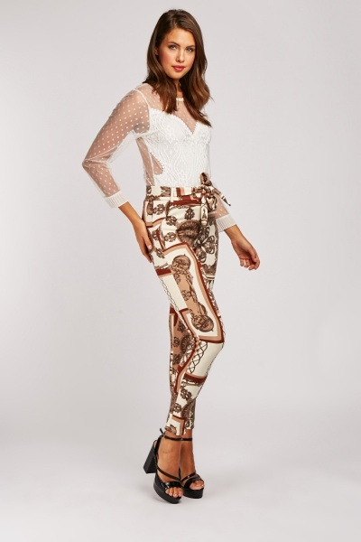Vintage Mixed Print Skinny Trousers