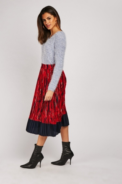 Zebra Print Midi Pleated Skirt