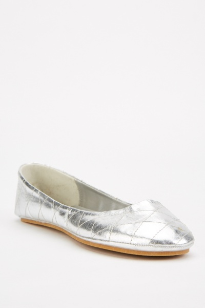 Diamond Stitched Metallic Ballet Flats