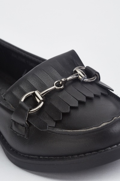 Fringed Detail Kids Loafers
