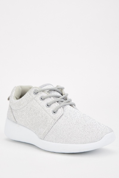 Lurex Lace Up Grey Trainers
