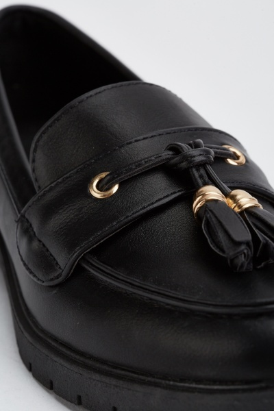 Tassel Front Faux Leather Loafers