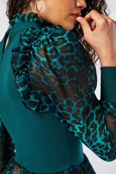 Leopard Print Contrast Ribbed Top