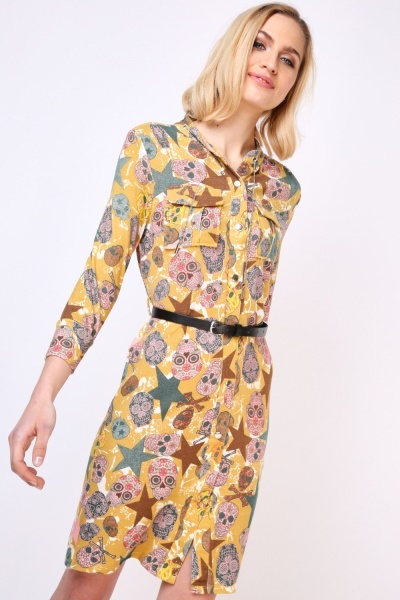 Candy Skull Printed Midi Dress