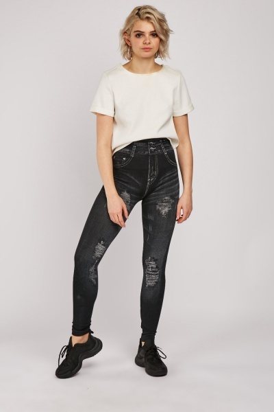Faded Print High Waisted Jeggings