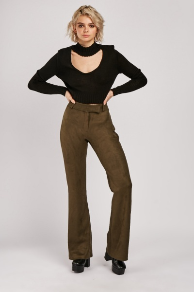 Flared Leg Suedette Trousers