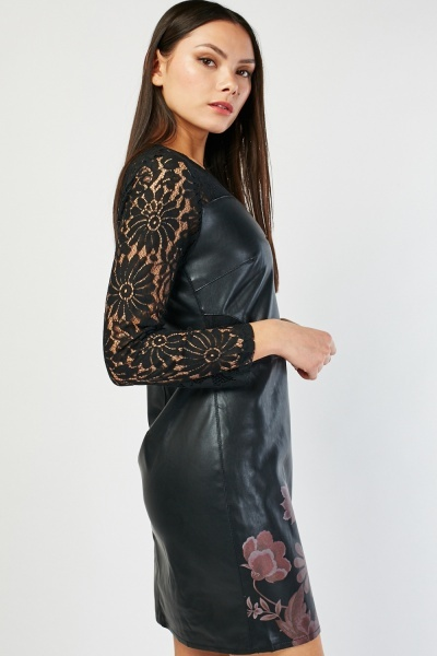 Lace Insert Faux Leather Dress