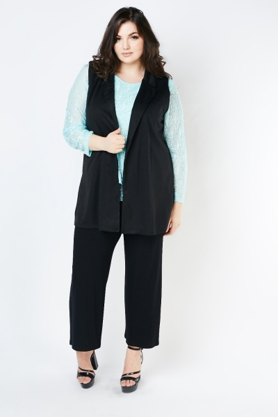 Sleeveless Lapel Front Jacket