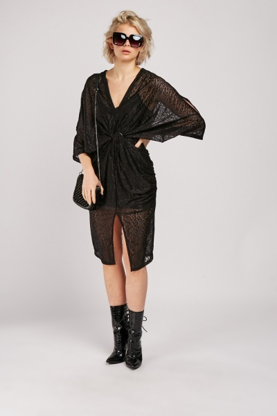 Twisted Front Lace Kaftan Dress