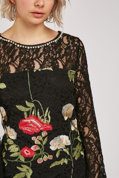 Embroidered Lace Overlay Shift Dress