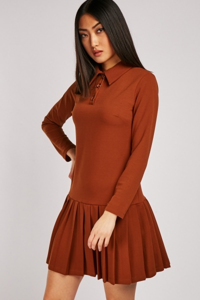 Collared Ruffle Hem Dress