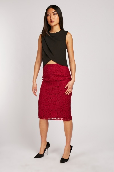 High Waist Midi Lace Skirt