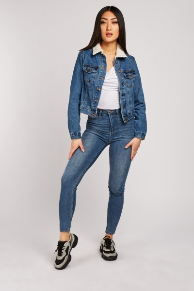 Mid Rise Top Stitched Skinny Jeans