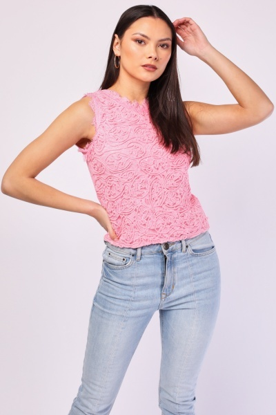 Sleeveless Rope Pattern Lace Top