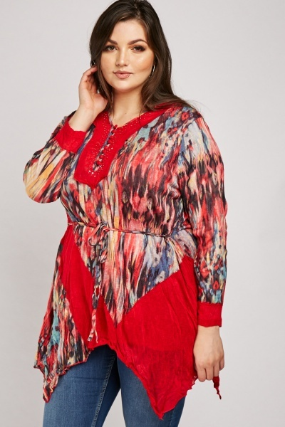 Embellished Crinkle Tie Dye Tunic Top