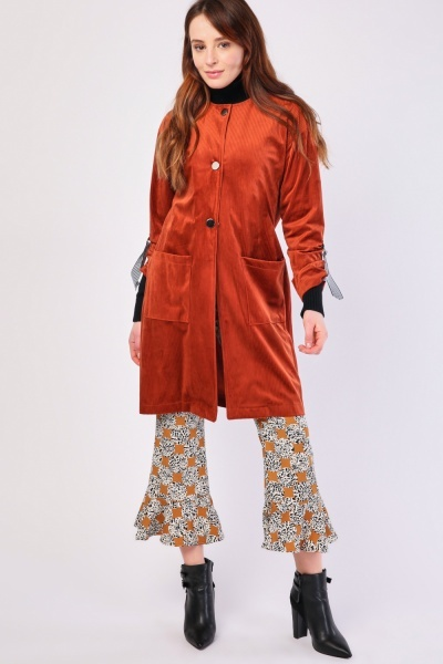 Collarless Cord Midi Coat