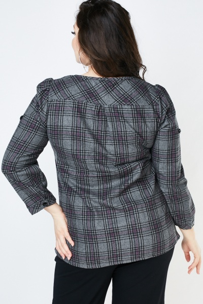 Decorative Pocket Flap Front Checkered Blouse