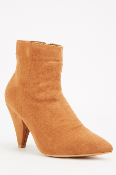 Cone Heel Suedette Ankle Boots