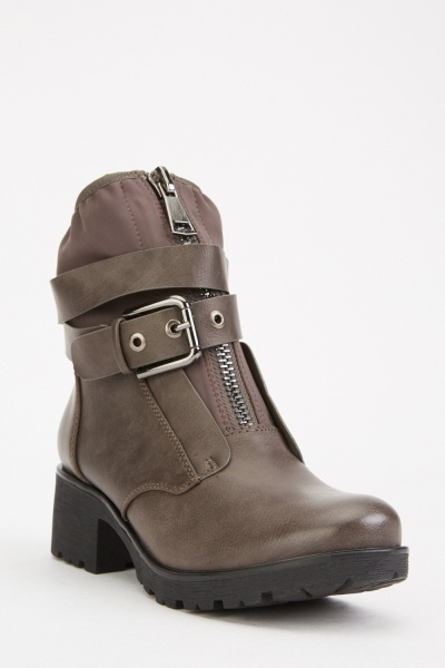 Zipper Buckle Front Ankle Boots