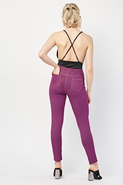 Plain High Waisted Jeggings