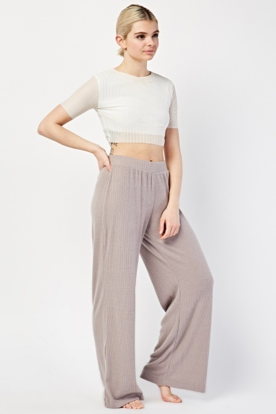 Ribbed Lounge-Wear Bottoms