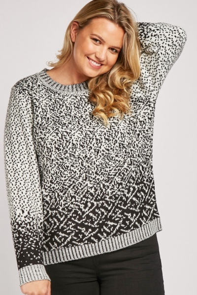 Round Neck Speckled Chunky Jumper
