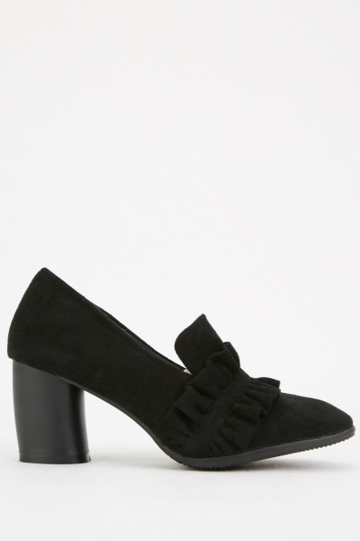 Suedette Ruched Heeled Loafers