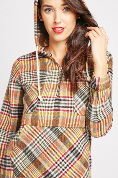 Plaid Zipper Front Hoodie