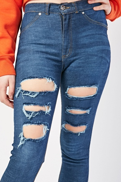Distressed Cut Out Skinny Jeggings