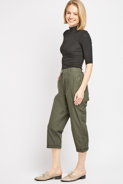 Cropped Length Chino Trousers