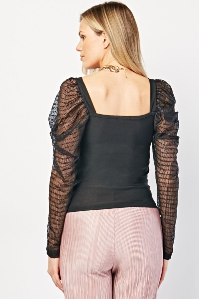 Gathered Mesh Sleeve Top