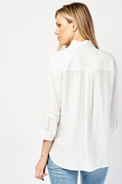 Single Pocket Front White Shirt