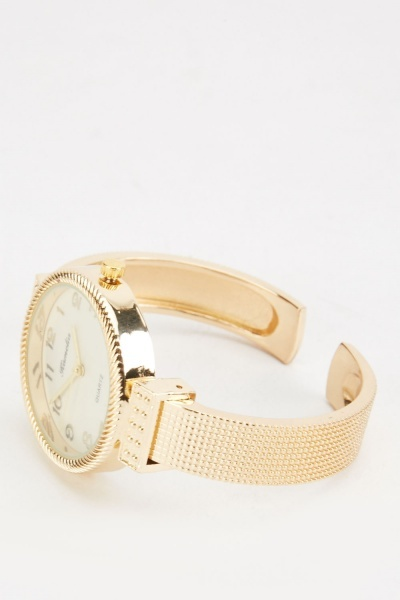 Textured Front Bangle Watch