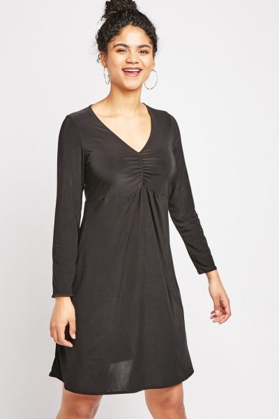 V-Neck Ruched Front Dress