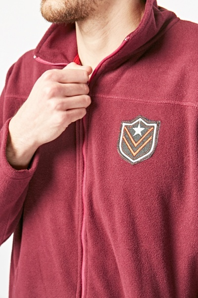 Zip Up Patch Detail Fleece Jacket