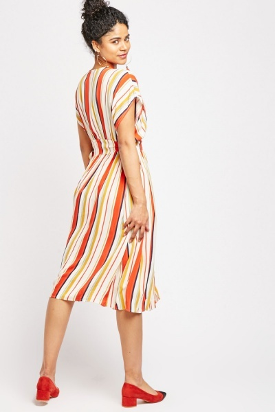 Candy Striped Button Front Dress
